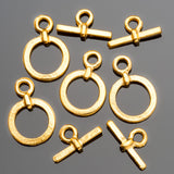 2 or 4 Small 24k gold plated toggle clasps, 18mm