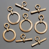 4 Small cast antique brass toggle clasps, 18mm