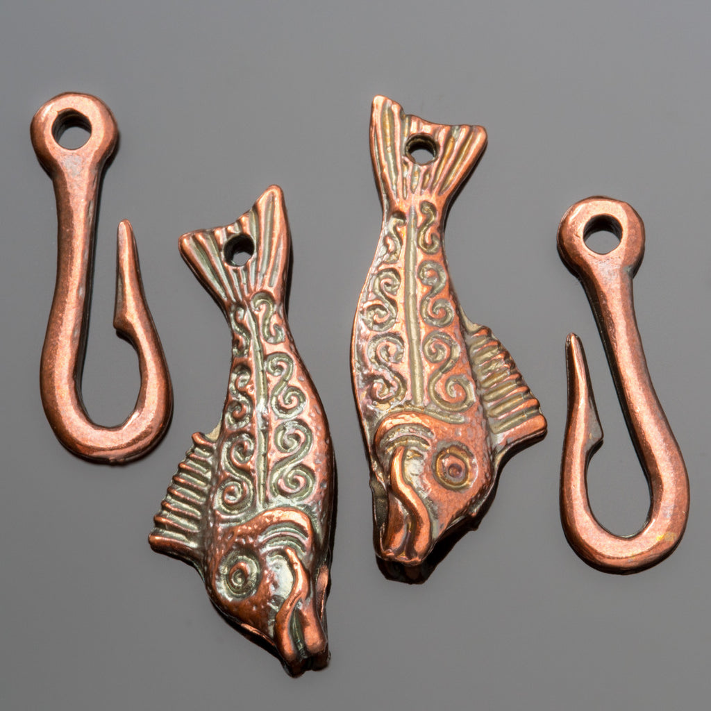 2 Cast bronze lead-free fish clasps, 50mm
