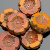 6 Small dark apricot and brick Picasso Hawaiian flower beads, 12mm