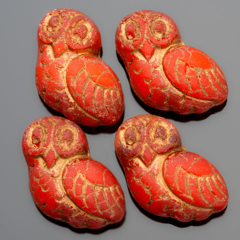 4 Matte flat-back red orange with bronze wash carved owls, 17 x 15mm