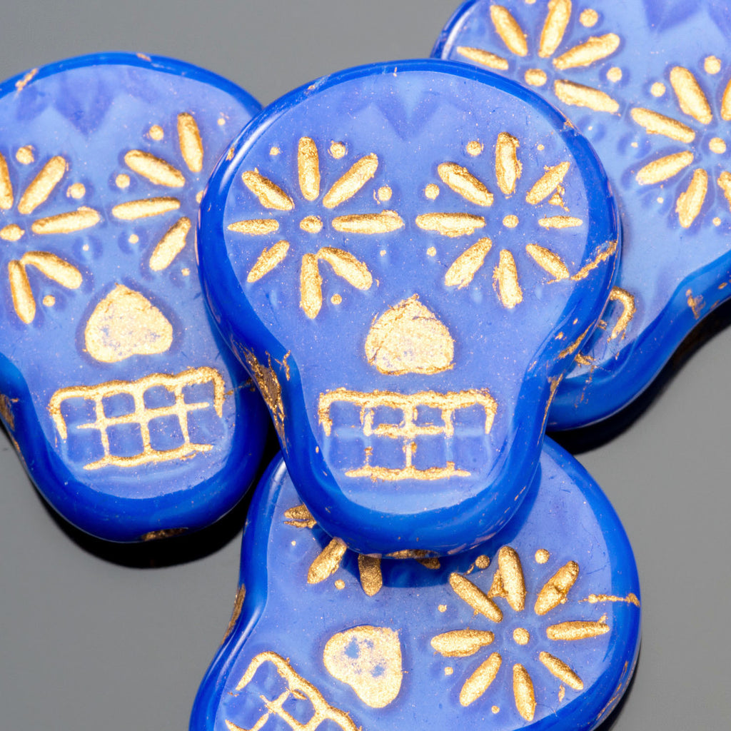 6  OR 10 Royal blue silk with gold wash Czech sugar skulls, 19 x 16mm, vertical hole