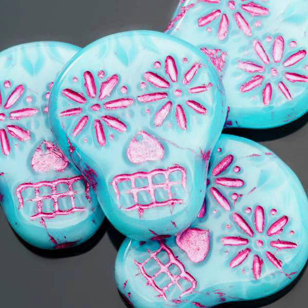 4 or 8 Sky blue silk with pink wash Czech sugar skulls, 19 x 16mm, vertical hole