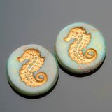 One Matte pale aqua old patina Seahorse coin bead, 23mm