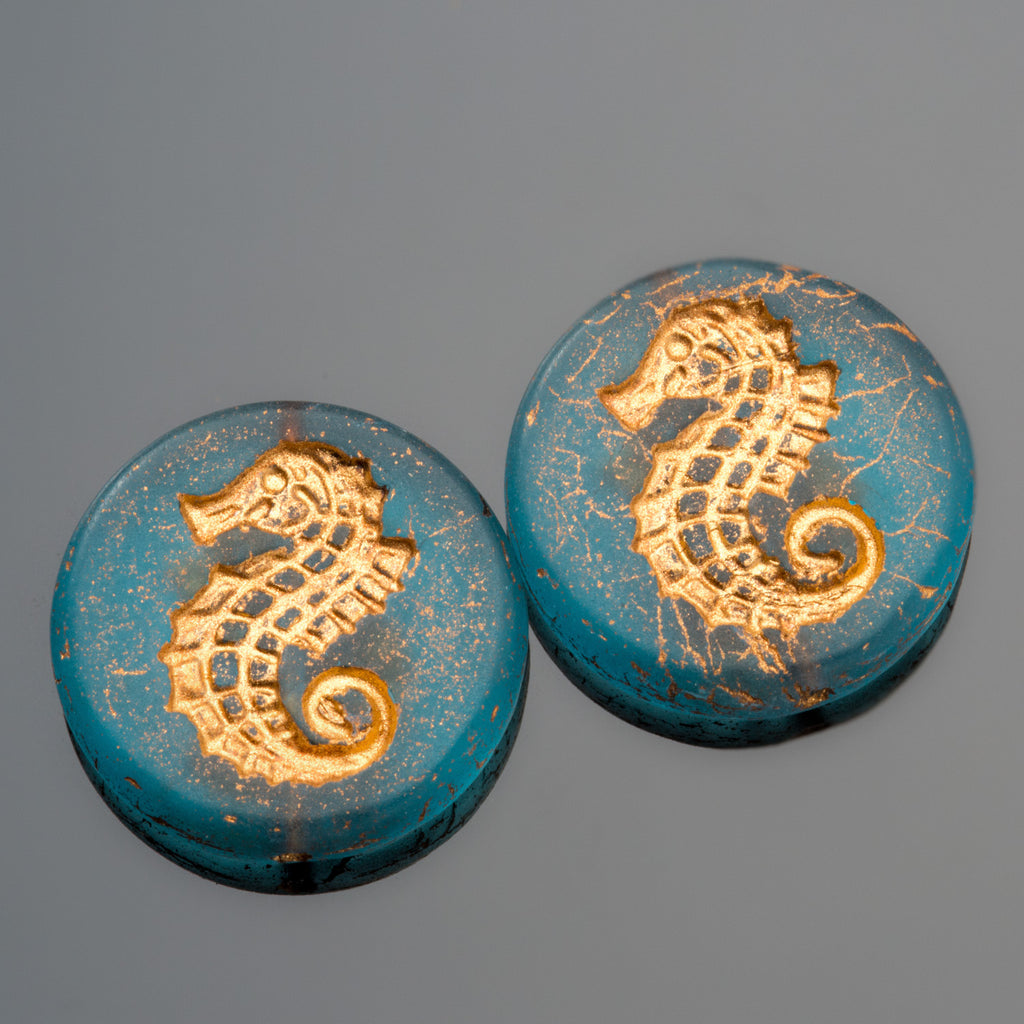 2 Teal Old Bronze Patina Seahorse coin beads, 23mm