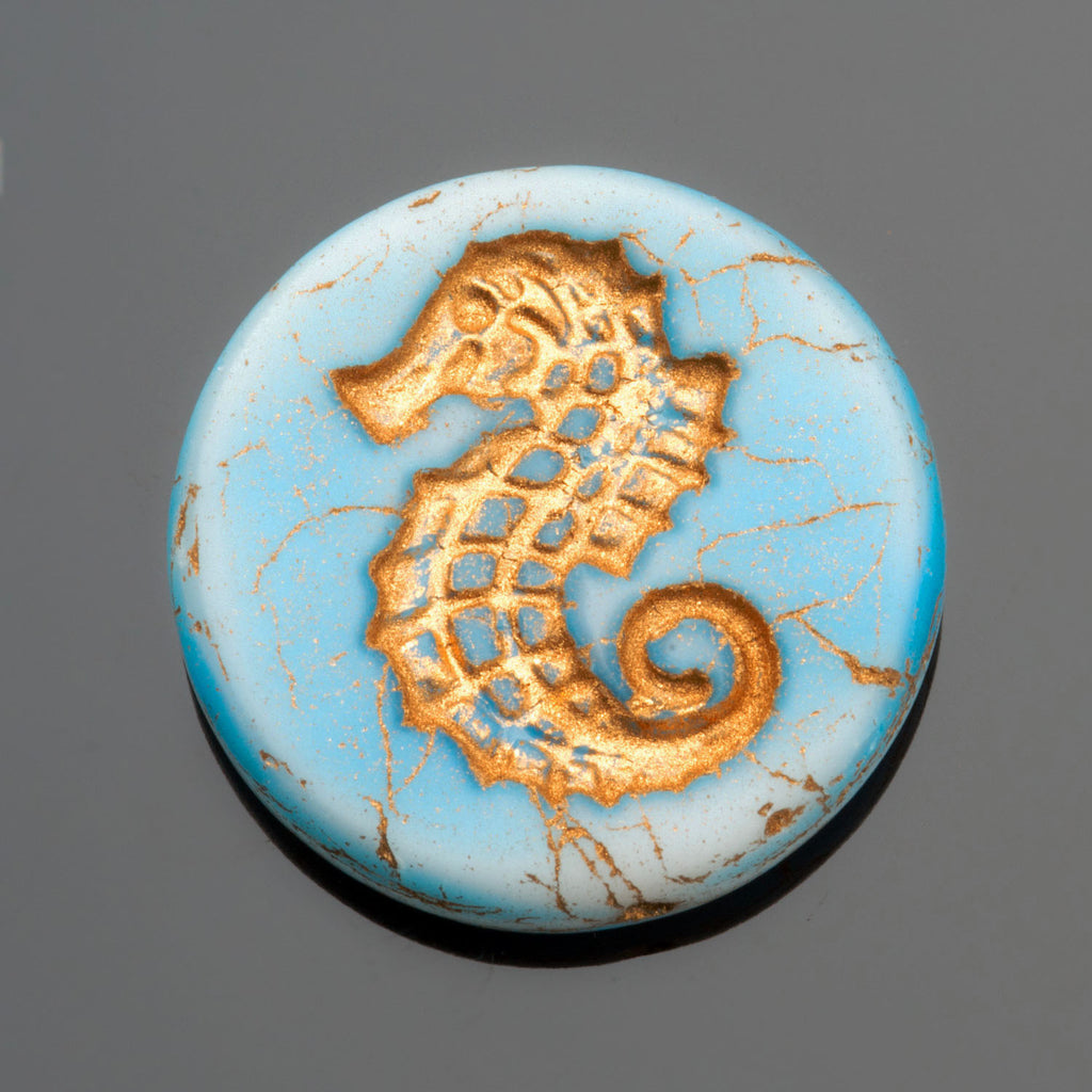 1 Aqua Blue Old Bronze Patina Seahorse coin bead, 23mm