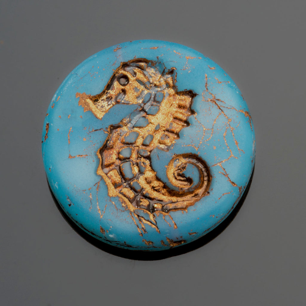 1 Aqua Opal Blue Old Bronze Patina Seahorse coin bead, 23mm