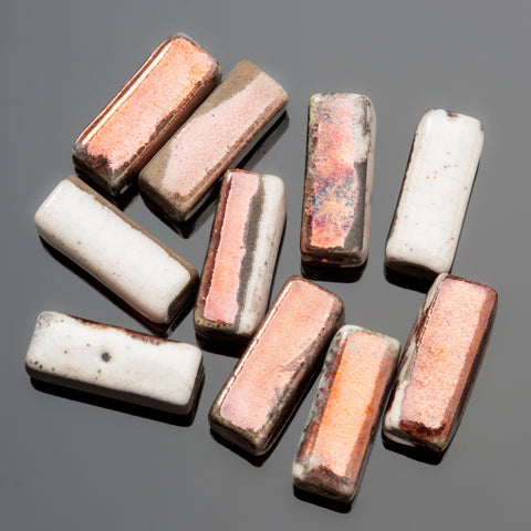 4 Harlequin raku tall square Greek ceramic beads, 6 x 16mm