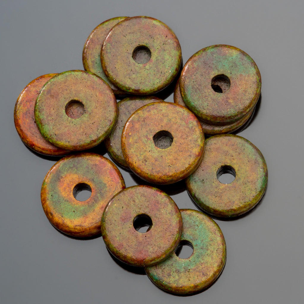 30 Heathered green large Greek ceramic washer beads, 13mm, 2.5mm hole