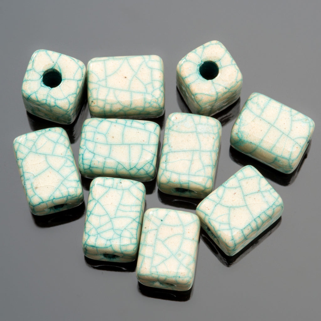 4 Antique turquoise Greek ceramic rectangular tube beads, 8 x 10mm, 2mm hole
