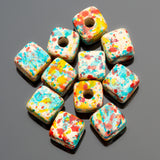 10% Off 40 Candy Splash Greek ceramic cube beads, 7mm, 2.5mm hole