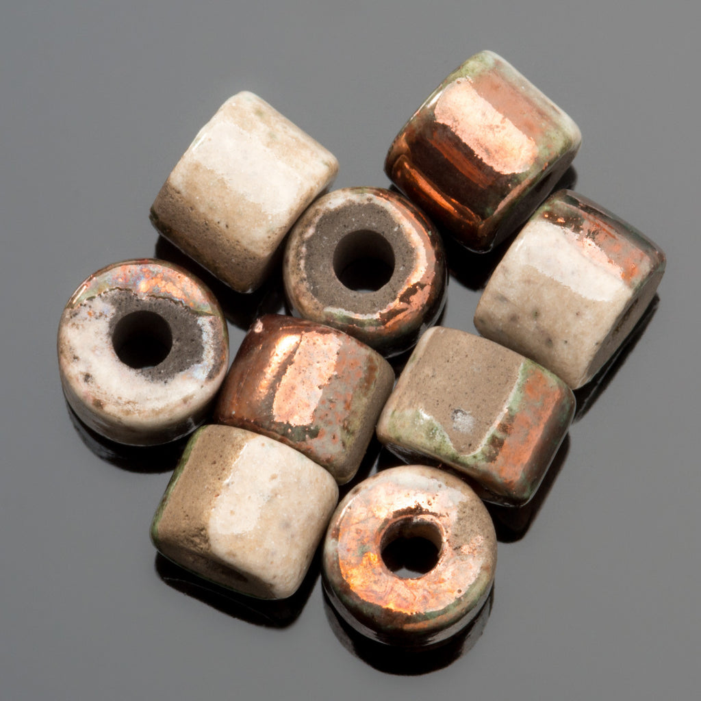 10% Off 10 Harlequin Greek ceramic short tube beads, 8 x 7mm, 2.5mm hole
