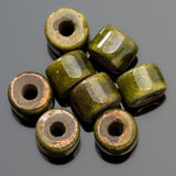 4 Madrugada raku Greek ceramic short tube beads, 8 x 7mm, 2.5mm hole