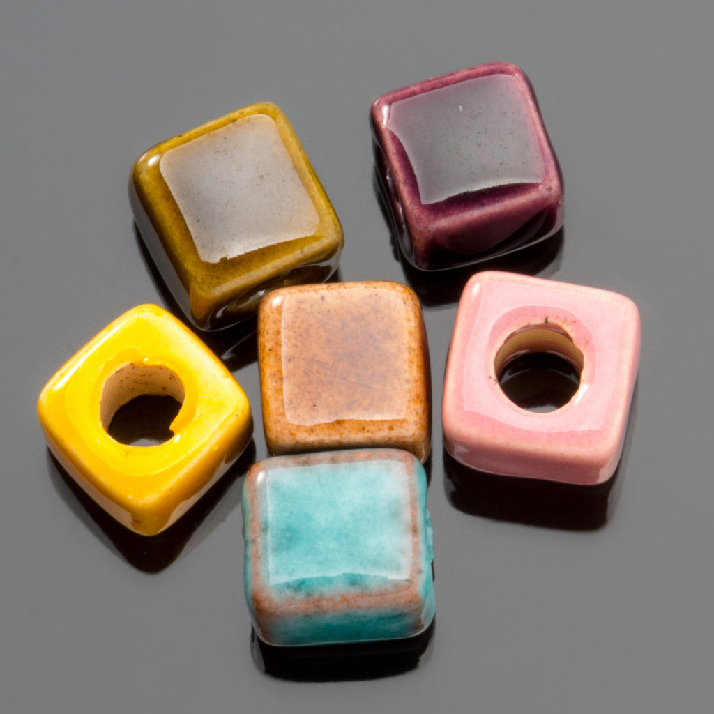10 Multi mix enamel Greek ceramic cube beads, 5 x 5.5mm, 2mm hole