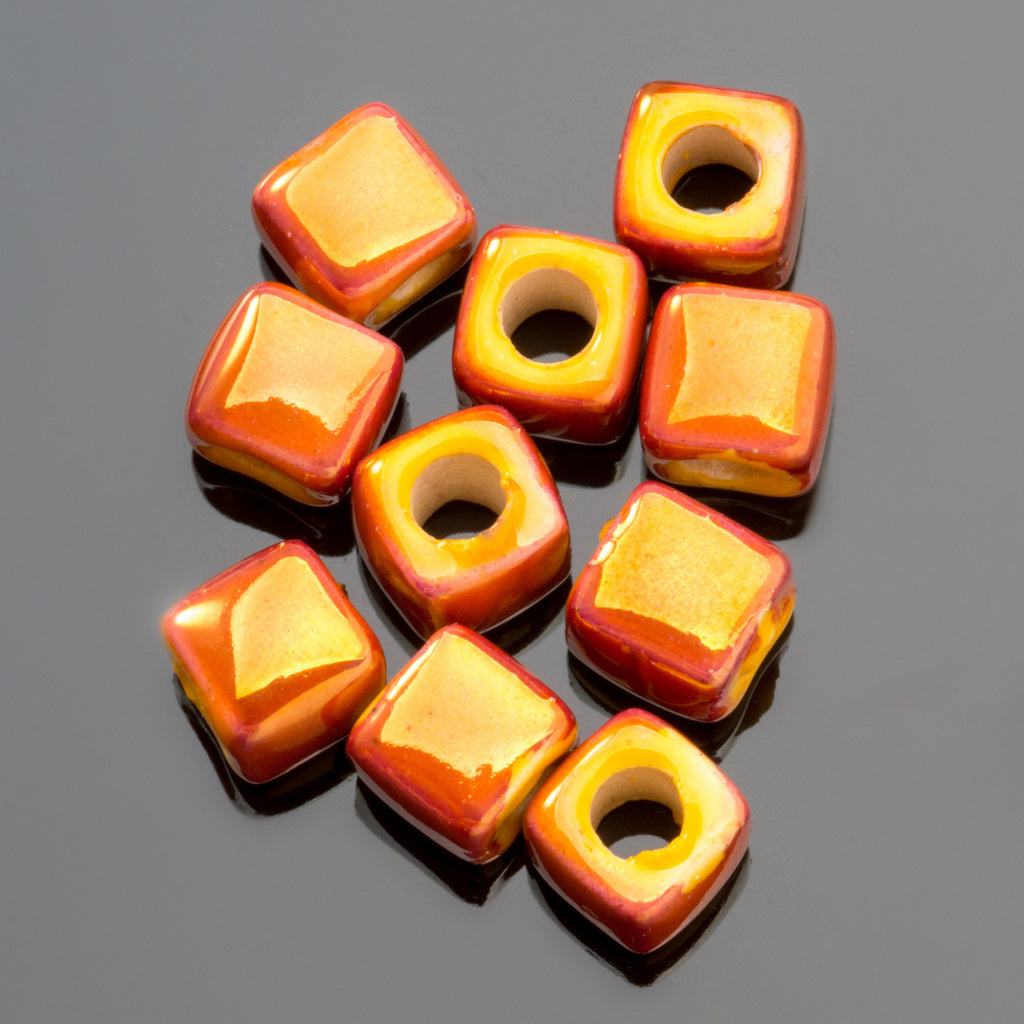 10 Flame iridescent enamel Greek ceramic cube beads, 5 x 5.5mm, 2mm hole