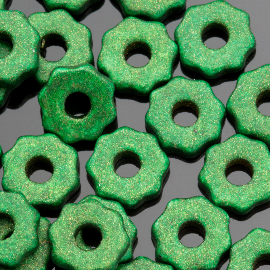 25 Aquametal green Greek ceramic small gears, 8 x 2mm, 2mm hole