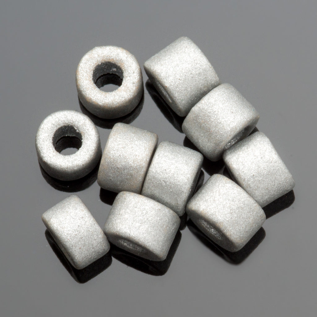 30 Silver Earthy Greek ceramic mini tube beads, 6 x 4mm, 2.5mm hole