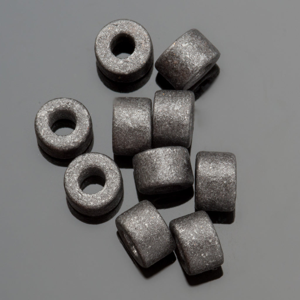 CLEARANCE 60 Gunmetal Greek ceramic mini tube beads, 6 x 4mm, 2.5mm hole
