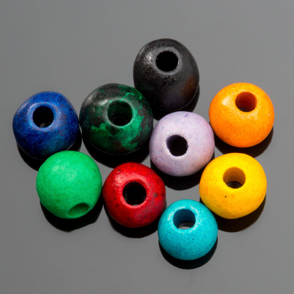 CLEARANCE 15 Bright assortment Greek ceramic round beads, 7 x 5mm, 2mm hole