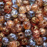 4.5 Grams or 100 beads Custom luster Czech glass melon bead mix, 3mm