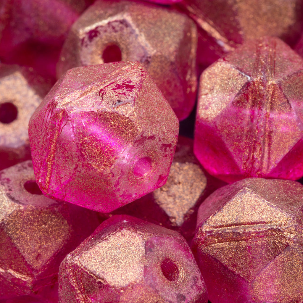 35 Large Fuchsia gold luster English cut Czech beads, 10mm