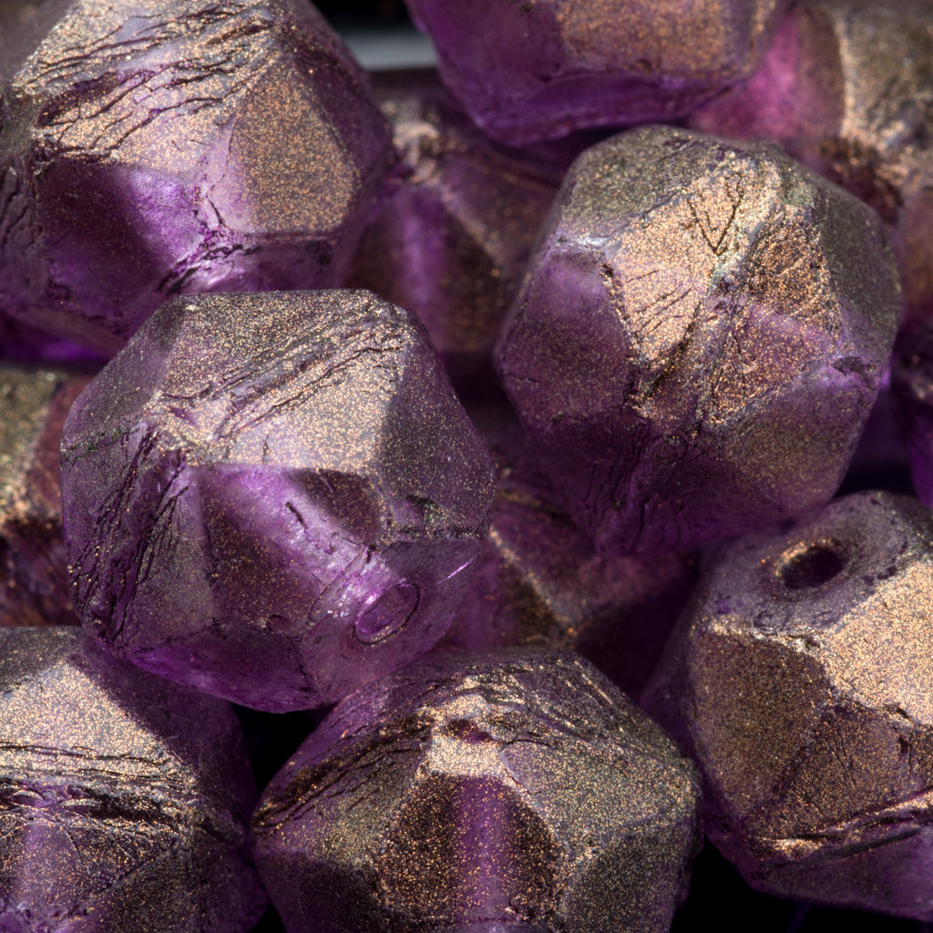 CLEARANCE 10 Amethyst gold luster large English cut Czech beads, 10mm