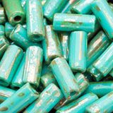 CLEARANCE 20 inches Green turquoise metallic wampum Czech tube bugle bead mix, 9 x 4mm