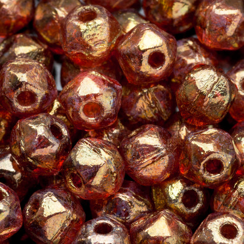100 beads total, 3mm English cut seed beads Rose gold topaz luster