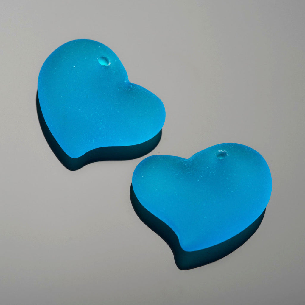 2 Cultured Faux Sea Glass Small Puffed Heart pendants, Pacific Blue, 18mm