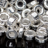 3 Grams Bright silver metalized ceramic 1.5 to 3 x 3.5mm seed beads, 1.5mm hole