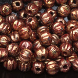 CLEARANCE 100 Red Bronze Picasso Czech glass melon beads, 3mm
