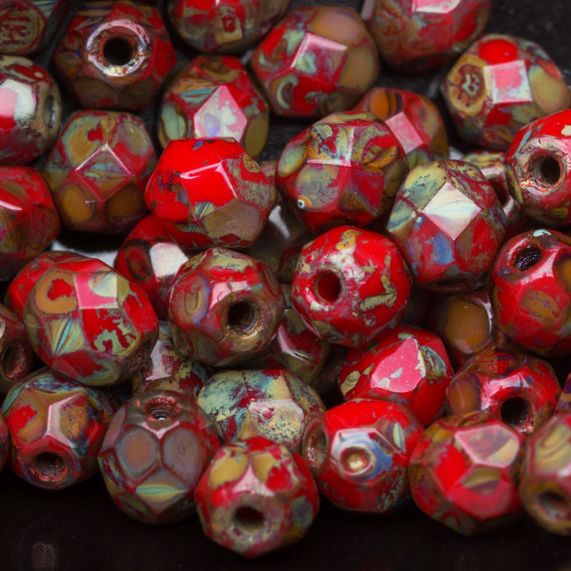 50 Opaque red Picasso Czech glass firepolished rounds, 4mm