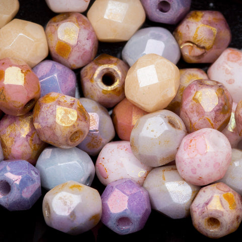 50 Opaque luster mix Czech glass firepolished rounds, 4mm
