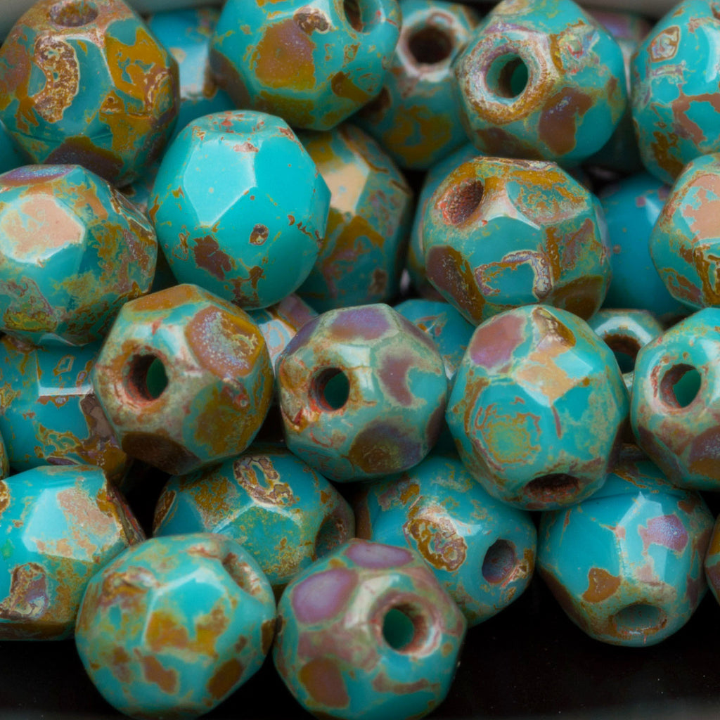 50 Persian turquoise Picasso Czech glass firepolished rounds, 4mm