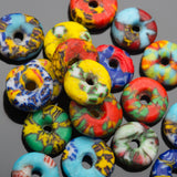 10 Mix Ghana recycled cast powdered glass rondelle spacers, 11 x 4mm