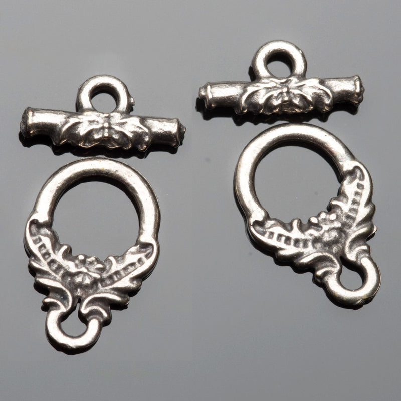 2 Sets cast antique silver ornate floral toggle clasps, 16mm, Holes 2mm