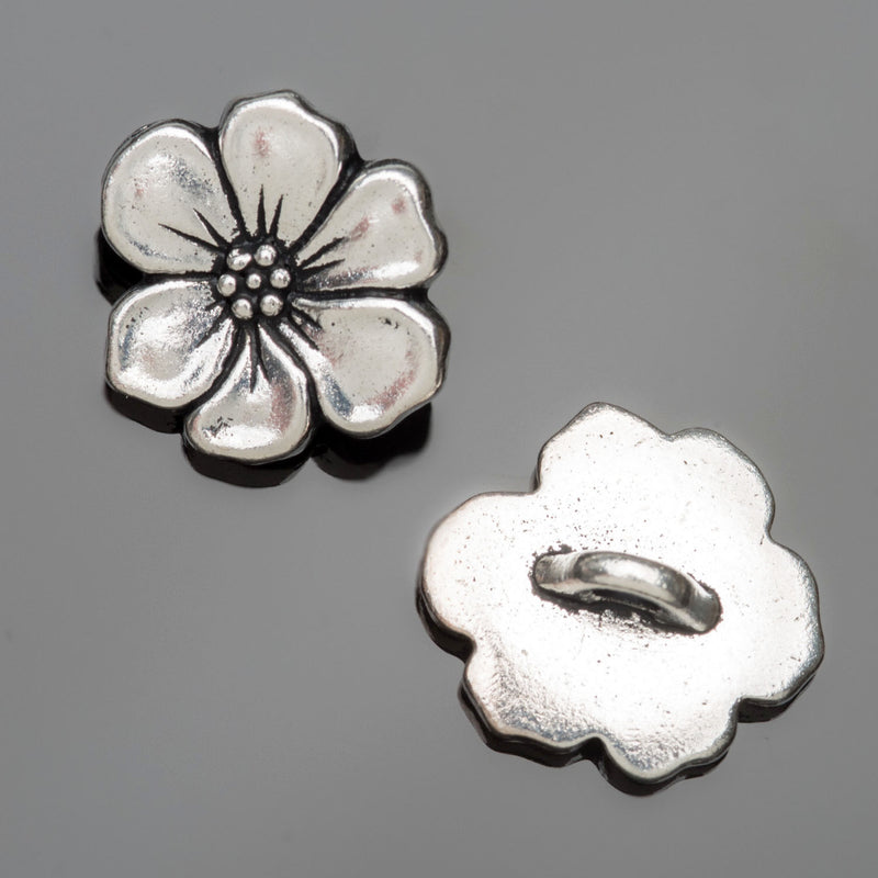 1 Tierracast antique silver apple blossom button, 15 x 5mm, Hole 2mm