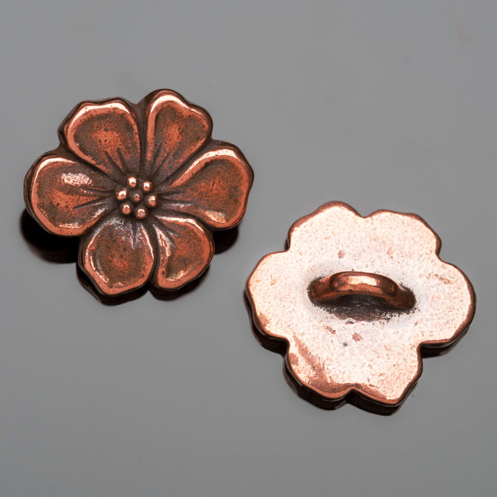 1 Tierracast antique copper apple blossom button, 15 x 5mm