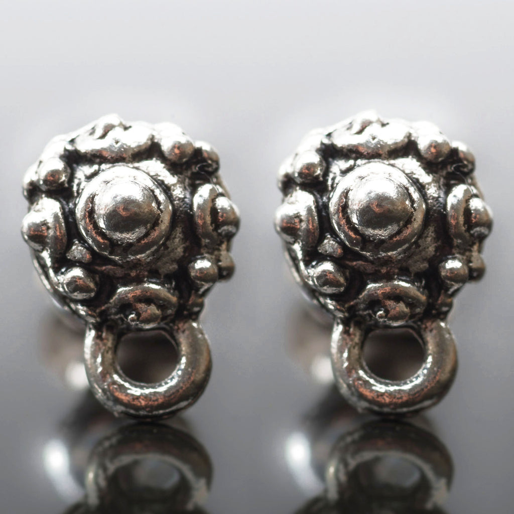 2 Tiny beaded earring post connectors, antique silver, 9 x 6mm