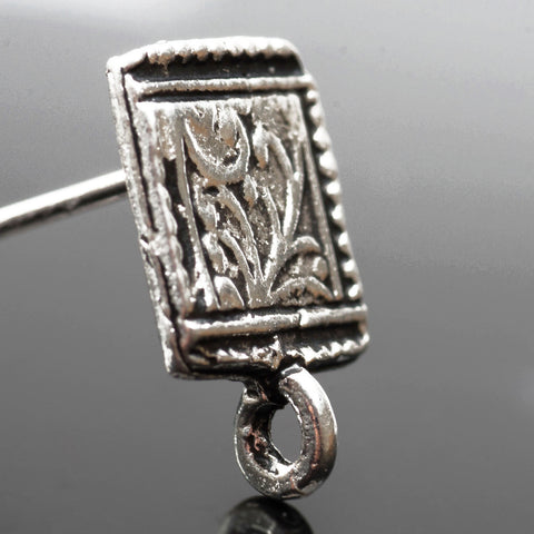 2 Ornate leaf motif frieze earring post connectors, antique silver, 8 x 12.5mm