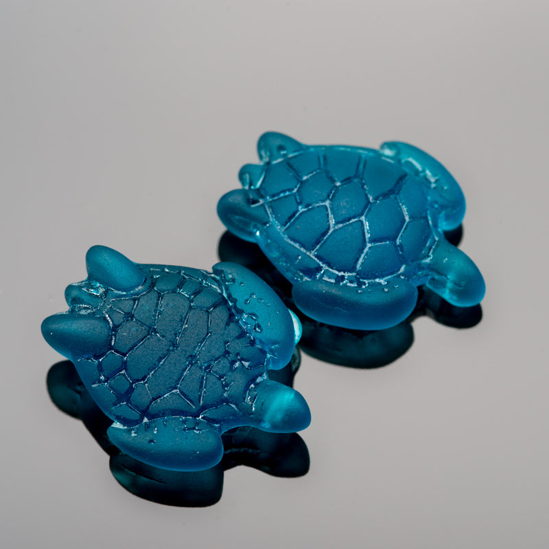 2 Cultured Faux Sea Glass Small Sea Turtle Charms, Teal, 22 x 18mm