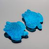 2 Cultured Faux Sea Glass Small Sea Turtle Charms, Pacific Blue, 22 x 18mm