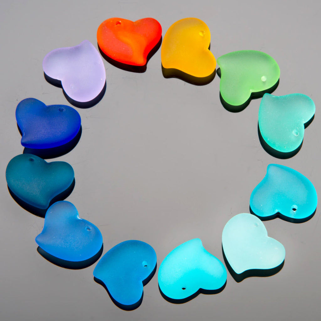 2 Cultured Faux Sea Glass Small Puffed Heart Pendants, Teal, 18mm
