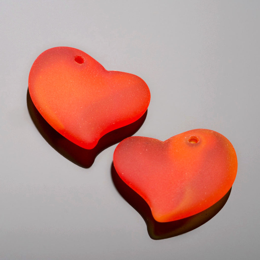 2 Cultured Faux Sea Glass Small Puffed Heart Pendants, Tangerine, 18mm