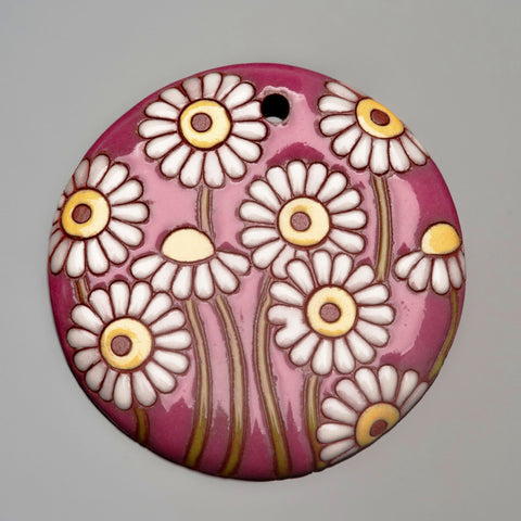 Golem Studios carved wine and white flowers large ceramic pendant, 44mm