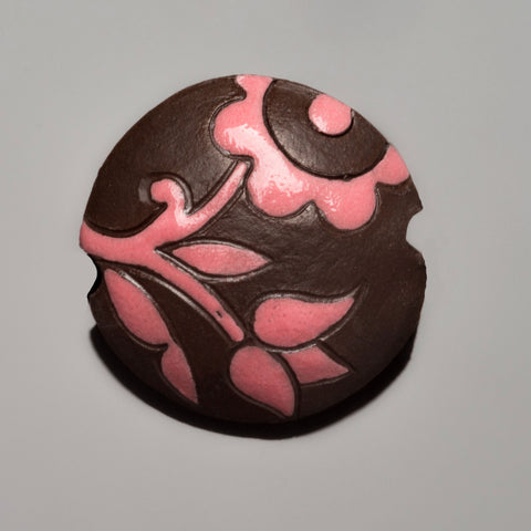 Golem Studios carved pink lace flower ceramic lentil, 23mm