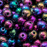 100 Purple Iris 4mm round Czech glass beads