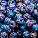100 Iris blue Czech glass melon beads, 3mm
