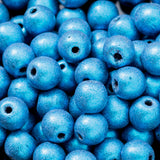 100 Blue metallic suede 4mm Czech glass beads
