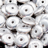 50 Czech glass metallic silver rondelle spacers, 6mm